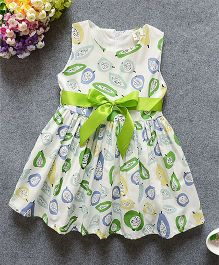 Superfie Sleeveless Summer Dress Printed With Satin Waist Bow - Green
