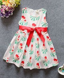 Superfie Sleeveless Dress Dancing Dolls Print - Green