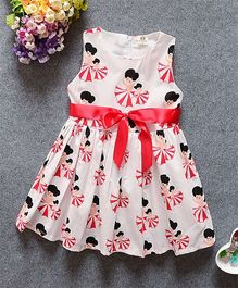 Superfie Sleeveless Dress Dancing Dolls Print - Red