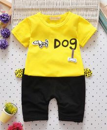 Superfie Doggy Text Print Classic Two Piece Summer Set - Yellow & Black