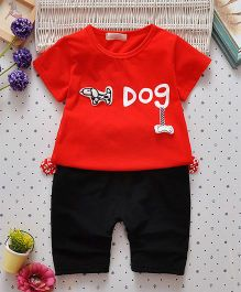 Superfie Doggy Text Print Classic Two Piece Summer Set - Red & Black