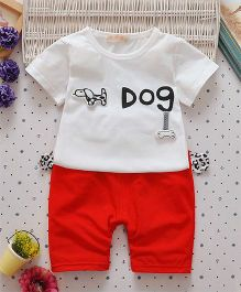 Superfie Doggy Text Print Classic Two Piece Summer Set - White & Red