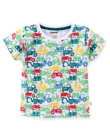 Cucumber Half Sleeves T-Shirt Vehicle Print - Multi Color