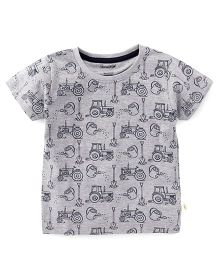 Cucumber Half Sleeves T-Shirt Vehicle Print - Grey