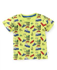 Cucumber Half Sleeves T-Shirt Multi Print - Yellow