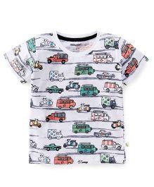 Cucumber Half Sleeves T-Shirt Vehicle Print - White