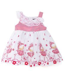 Little Kangaroos Sleeveless Lace Frock Floral & Heart Print - Pink