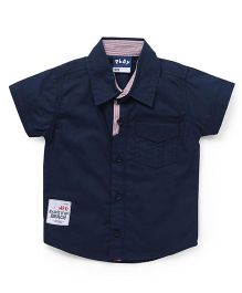 Little Kangaroos Half Sleeves Plain Solid Shirt - Navy