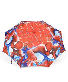 Spider Man Printed Umbrella With Whistle - Red And Blue