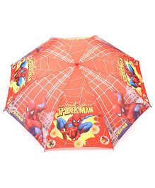 Spider Man Kids Umbrella With Whistle Web Print - Red