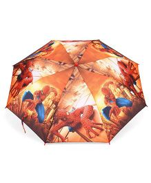 Spider Man Printed Umbrella With Whistle - Orange & Multicolor