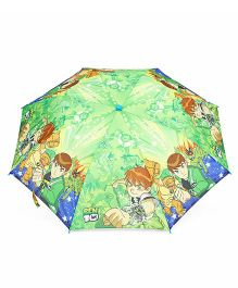 Ben 10 Printed Umbrella With Whistle - Green & Multicolor