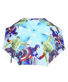Avengers Printed Umbrella With Whistle - Blue & Multicolor