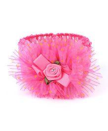 Babyhug Headband With Crepe Design Floral Applique - Dark Pink