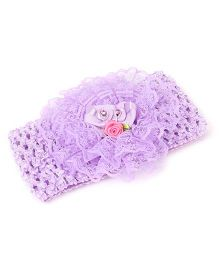 Babyhug Headband With Lace Floral Applique - Light Purple