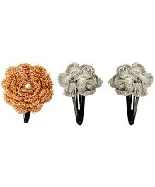 Funkrafts Ethnic Pack Of 3 Hair Clips - Golden And Silver