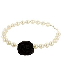Funkrafts Pearl Necklace With Rose - Black