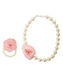 Funkrafts Pearl Necklace & Bracelet Jewellery Set - Pink