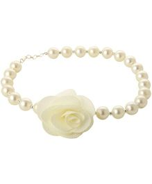 Funkrafts Pearl Necklace With Rose - Cream
