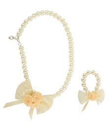 Funkrafts Rose Pearl Necklace & Bracelet Jewellery Set - Cream