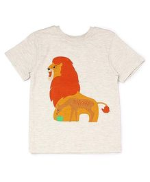 The Lion And The Fish Tee Hungry Lion Print - Off White