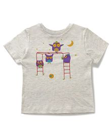 The Lion And The Fish Tee Night Owl Print - Light Grey