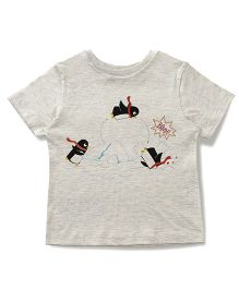 The Lion And The Fish Tee Swimming Penguin Print - Light Grey