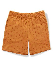 The Lion And The Fish Jungle Print Shorts - Mustard