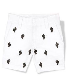 The Lion And The Fish Cacti Embroidered Shorts - White