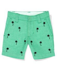 The Lion And The Fish Palm Embroidered Oxford Shorts - Mint Green