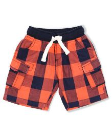The Lion And The Fish Pull On Gingham Checkered Shorts - Orange & Navy