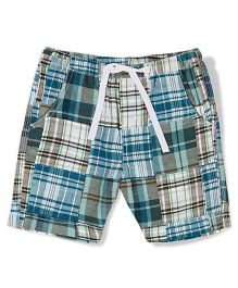 The Lion And The Fish Pull On Patchwork Shorts - Teal Blue & White
