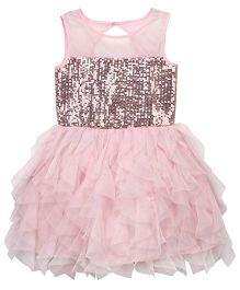 Chicabelle Sequenced Net Party Dress - Pink
