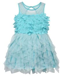 Chicabelle Net Party Dress With Cut Flowers - Blue