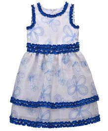 Chicabelle Butterfly Print Organza Party Dress - White & Blue