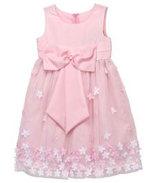 Chicabelle Flower Design Party Dress In Net & Crepe - Pink