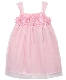 Chicabelle Party Dress With Back Buttons In Net And Crepe - Pink