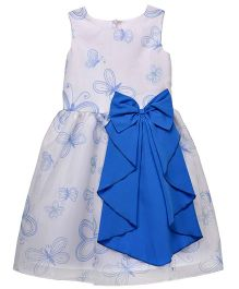 Chicabelle Butterfly Print Dress With Back Zip Closure - Blue