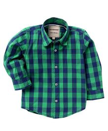 The kidShop Cotton Checks Shirt - Green & Blue