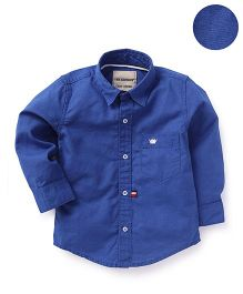 The kidShop Solid Shirt With Crown Embroidery - Blue