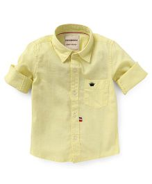 The kidShop Solid Shirt With Crown Embroidery - Yellow