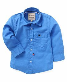 The KidShop Solid Shirt With Crown Embroidery - Dark Blue