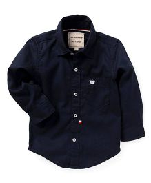 The KidShop Solid Shirt With Crown Embroidery - Navy Blue