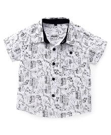 Bubblegum Half Sleeves Printed Linen Shirt - White & Black
