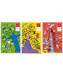 Youva Long Book Regular Size Combo of 3 Notebook - Green Yellow Red