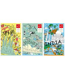 Youva Long Book Regular Size Combo of 3 Books Wanderer - Green Yellow Blue