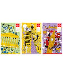 Youva Long Book Regular Size Combo of 3 Notebook - Yellow Purple
