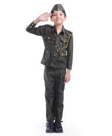 Fancydresswale Full Sleeves Military Fancy Dress - Green