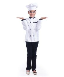 Fancydresswale Full Sleeves Chef Jacket And Hat - White