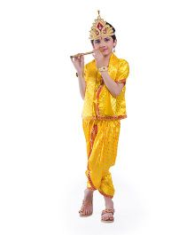 Fancydresswale Half Sleeves Krishna Fancy Dress - Yellow